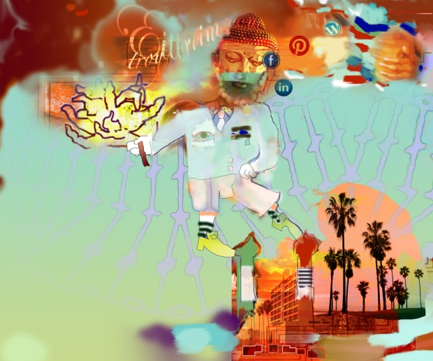 Digital painting of Buddha, with knobby head in Michael Jackson crotch grab pose dancing over Los Angeles